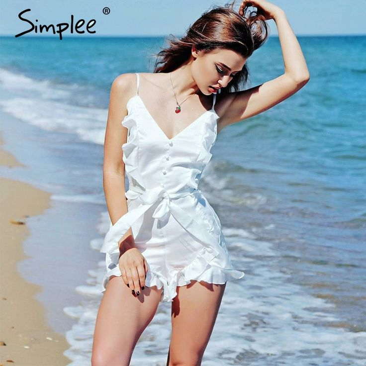 Aliexpress.com : Buy Simplee V neck ruffle bow high waist satin women jumpsuit romper Sexy sleeveless loose jumpsuit summer streetwear overalls from Reliable loose jumpsuit suppliers on Simplee Apparel