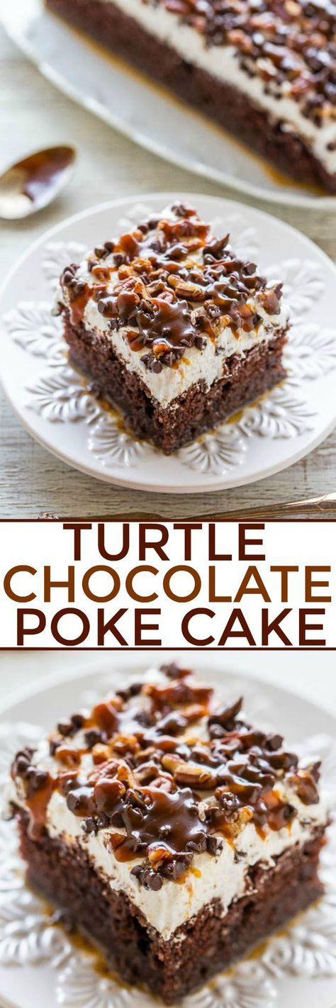 Turtle Chocolate Poke Cake - The flavor of the famous candy in a decadent chocolate cake with tons of CARAMEL and pecans!! Easy, super soft and moist, and a crowd FAVORITE! One of the BEST CAKES ever!!