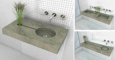 Made of polished stained concrete, the Zen Garden Sink has a channel that allows the water used while washing your hands to water a plant. Created by young Montreal designer Jean-Michel Gauvreau the sink comes in single or double basin model. The sink is designed in a way you won't get your plants all soapy. There is a main drain at the bottom of the basin for soapy grime. Your little plant friend just gets whatever you choose to dole out.