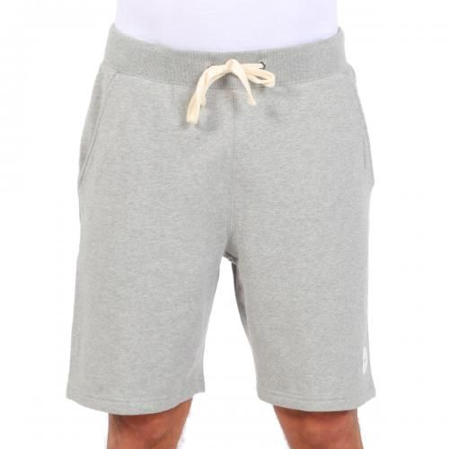 GREY MELANGE COTTON FLEECE BERMUDA SHORTS Grey melange fleece Bermuda shorts with two front pockets and a single back pocket. Saturdays Surf NYC label stitched on front. Elastic waistband and cotton thread drawstring. COMPOSITION: 100% COTTON. Model wears size L, he is 189 cm tall and weighs 86 Kg.