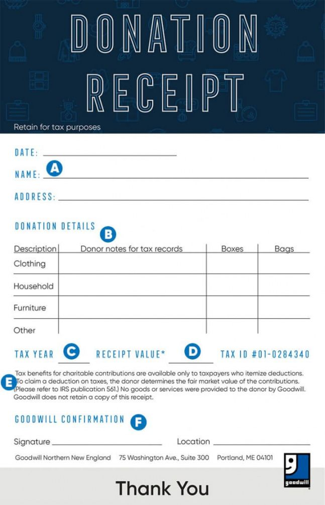 Get Our Example Of Thrift Store Donation Receipt Template Goodwill Donations Receipt Template Donation Form