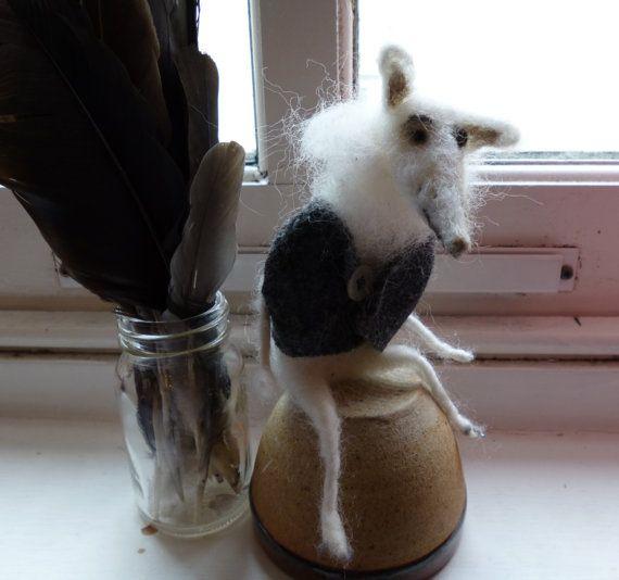 Alex the Arctic Fox -handmade soft sculpture