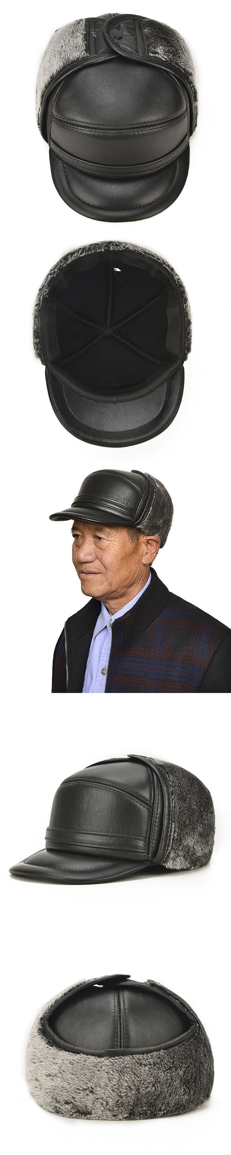 New Arrival Winter Warm Hat Elderly Ear Protection Cap  Adult Lei Feng Leather  Father Sheepskin Hat Hickening Warm Hat B-7154