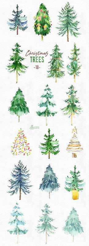 Christmas Trees. 18 Watercolor holiday clipart, conifers, decorations, handpainted, floral, forest, invite, holly, merry, green, greetings – Eric Hoopingarner