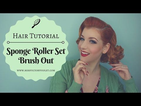(9) Sponge Roller Set Brush Out Vintage Hair Tutorial - YouTube