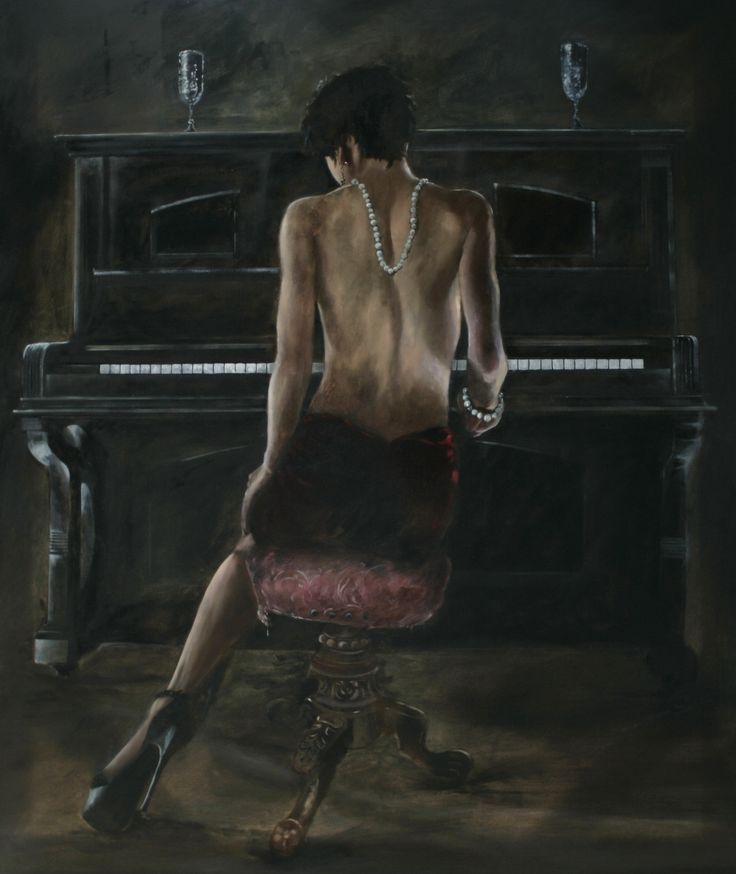 By Gavin Collins Kimberley at the piano Oil on canvas