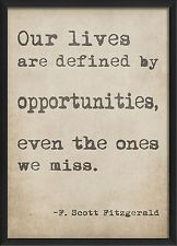 The Artwork Factory Defined by Opportunities Typewriter Quote Framed Textual Art
