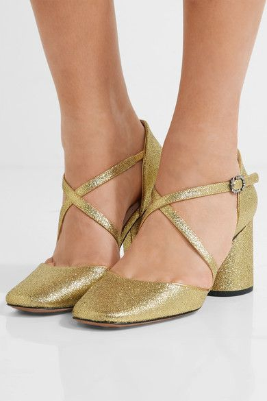 Heel measures approximately 75mm/ 3 inches Gold glittered leather Buckle-fastening ankle strap