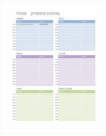 Týdenní kalendář událostí (Word)