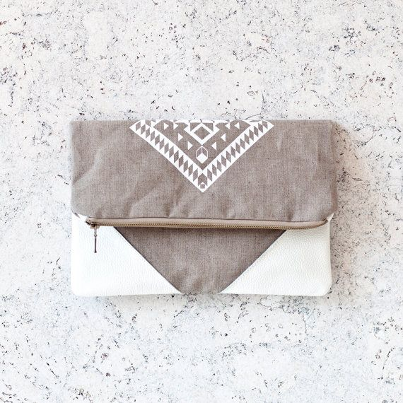 Geometrical Illusion Printed  Leather Pouch  white ipad by CORIUMI, $56.00