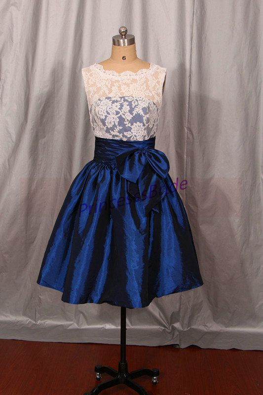 2014 short ivory lace and navy blue taffeta bridesmaid for Maid of honor wedding dress
