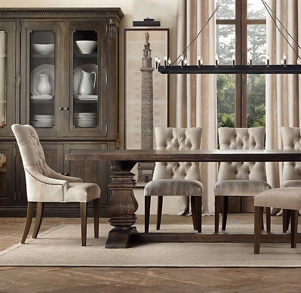 DREAM dining room table...either in the salvaged brown or salvaged natural. Wood Trestle Rectangular Extension Dining Table