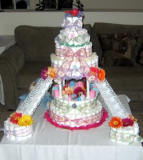 6 Tier Diaper Cake with stairs & two - 1 Tier Diaper Cakes ...