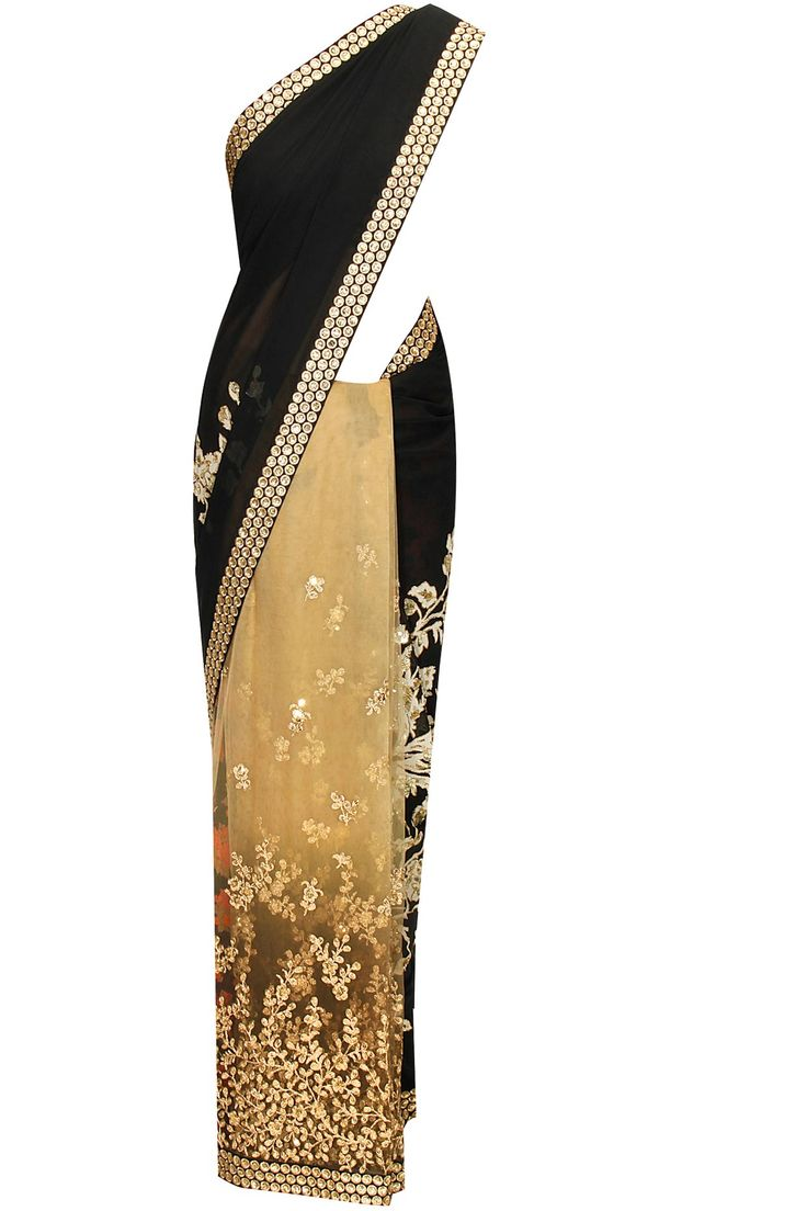 Black and beige aari work sari with black embroidered blouse piece available only at Pernia's Pop-Up Shop.