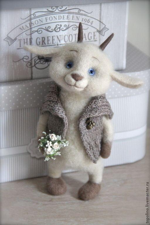 Купить Козлик Боря - белый, козлик, валяная игрушка, валяние из шерсти, игрушка ручной работы