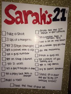 21st birthday checklist sign - Google Search