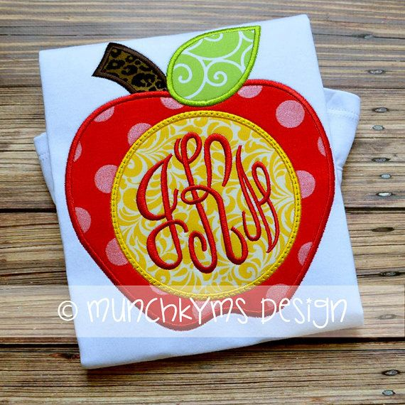 Back to School - Apple Monogram - Customized Tee Shirt - Customizable by JMehargDesigns on Etsy