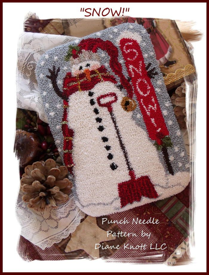 Snow - Snowman with Shovel Punch Needle Pattern Download by Diane Knott, LLC by…
