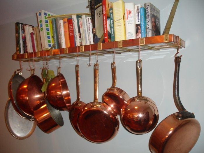 Hanging pot rack how do you hang pots and pans on the for Kitchen s hooks for pots and pans