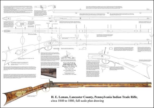 "Neatly drawn and dimensioned, our full scale drawing will simplify assembly of a classic fullstock ""trade rifle"" in the style of Henry Eicholtz Leman. His Lancaster County, Pennsylvania, factory made rifles for trade to westbound settlers and to the Bureau of Indian Affairs. Prized by the Indians, Leman fullstock and halfstock rifles are highly collectible today. We offer pre-inlet stocks, locks, barrels and all the castings needed to build this rifle, in several popular variations. The plan…"