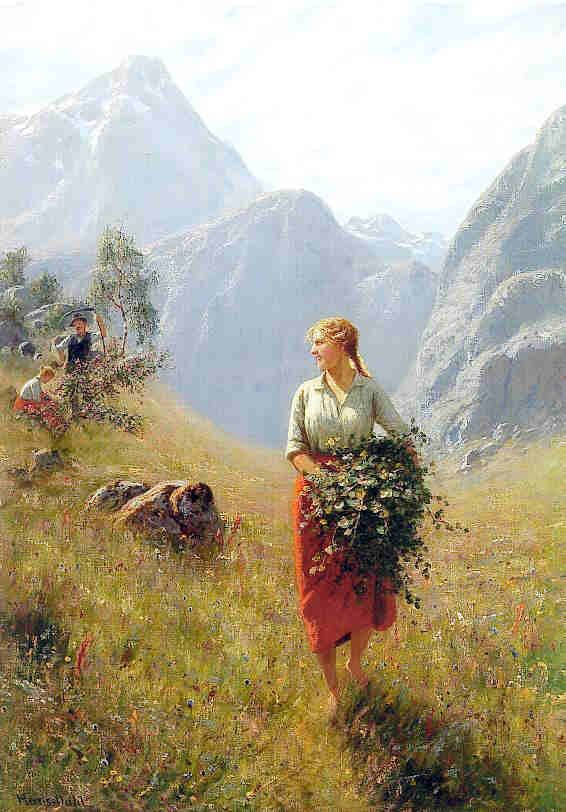 """Girl in a Field"" by Norwegian painter Hans Dahl (1849-1937). Hordaland"