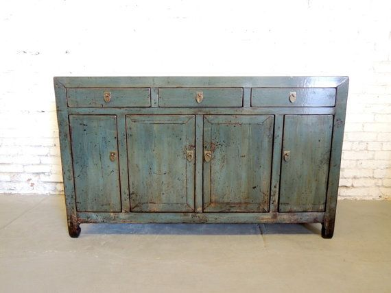 Antique Chinese Storage Credenza In Distressed Blue Los