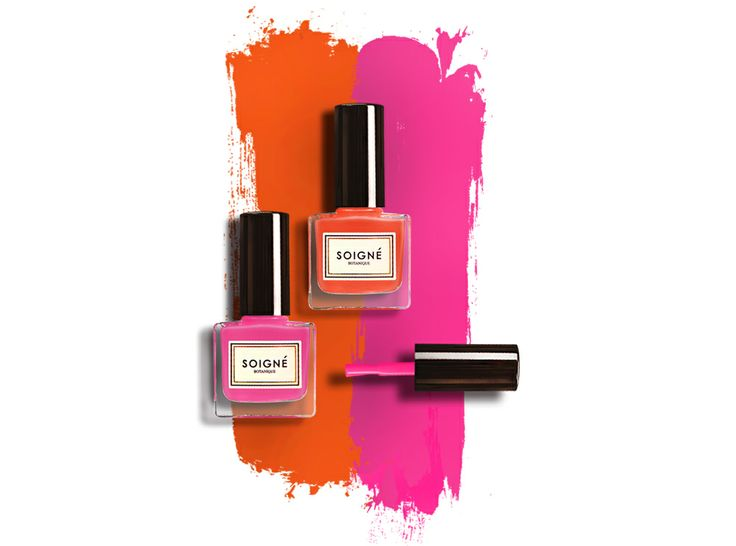 Channel playful brights into your spring summer look with these bright pink and orange. #MousseauxFramboises #Persimmon #soigne #nails #lacquer #spring #summer #botanical #5Free