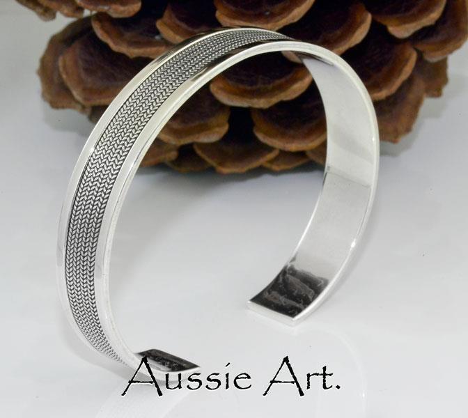 5SB-189 Solid 925 Sterling Silver New Cuff Wristband Bangle Men Bracelet