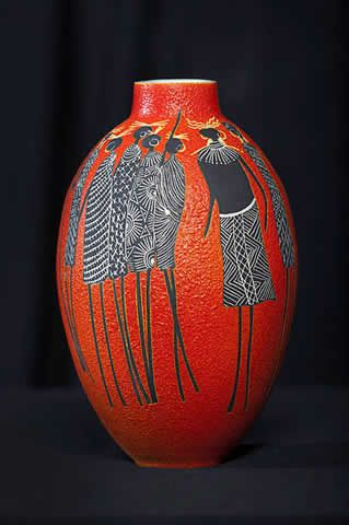 """Marilyn Wheeler, New Zealand potter, """"My works, lately, depict thoughts of the past... The African Tribal Vessels is one such body of work."""" See her website here: http://www.marilynwheeler.co.nz/"""