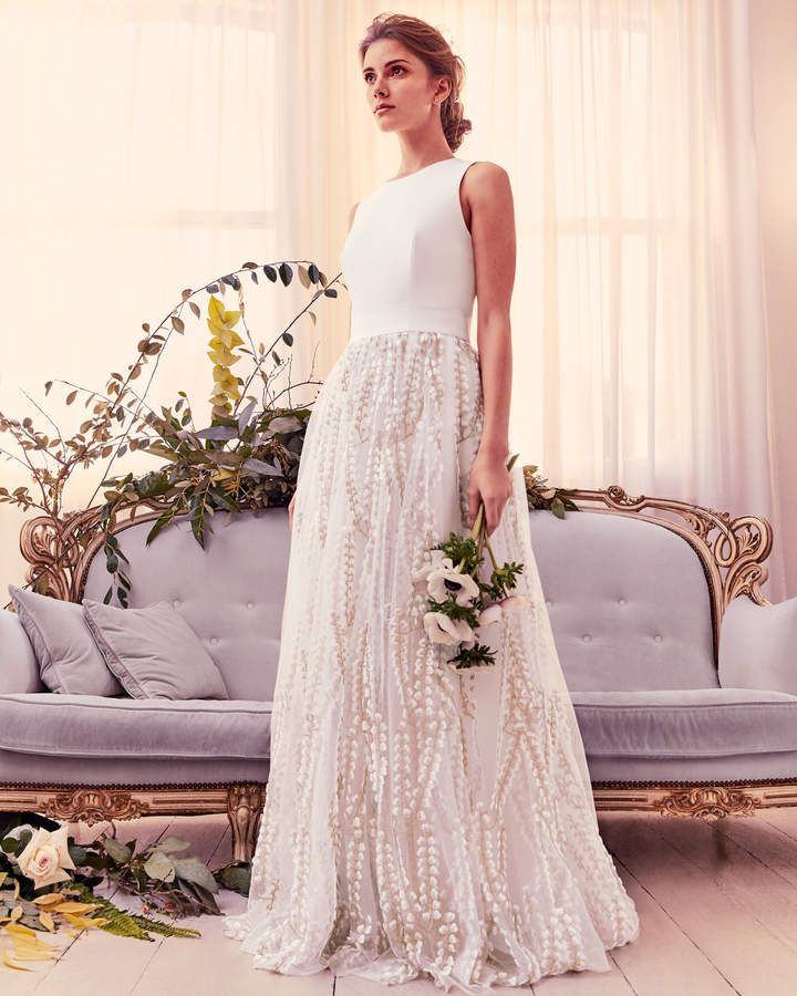 46ebdc53493 SILVYA Floral embroidered maxi wedding dress with train. Stride down the  aisle in truly ethereal style with SILVYA. Ted s magical maxi dress  features a ...