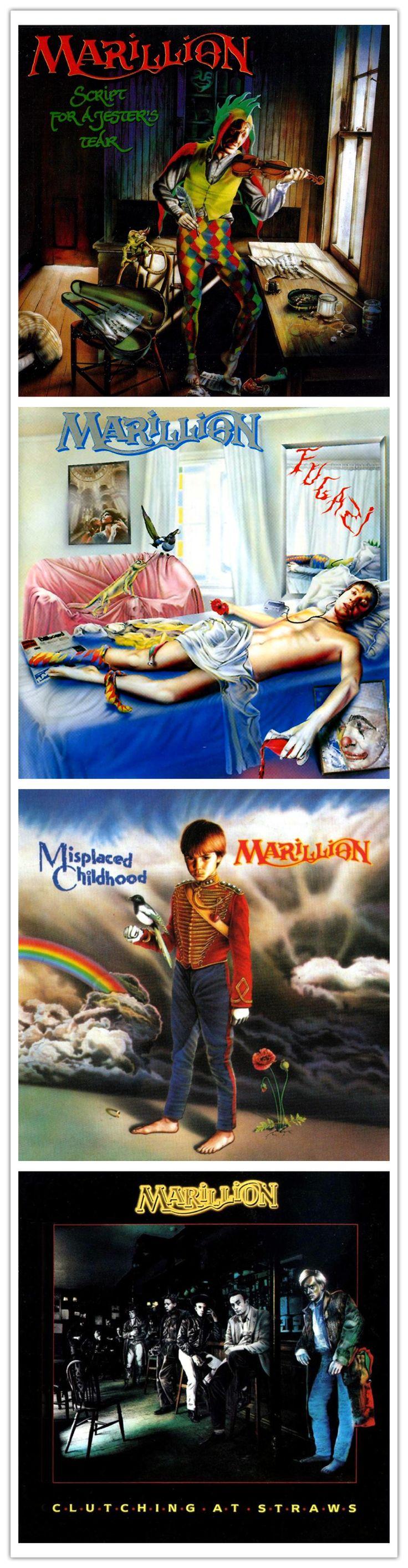 Marillion album art, 1983 - 1987, their first four studio albums with FISH as frontman, artwork Mark Wilkinson