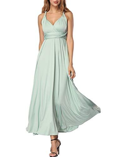aa26612bc1b759 Damen Frauen Multi-Tragen Kreuz Halfter Abendkleid Brautjungfer Langes Kleid  Multiway-Kleid Rückenfrei Maxikleid Sommerkleider Strandkleid Cocktailkleid  ...