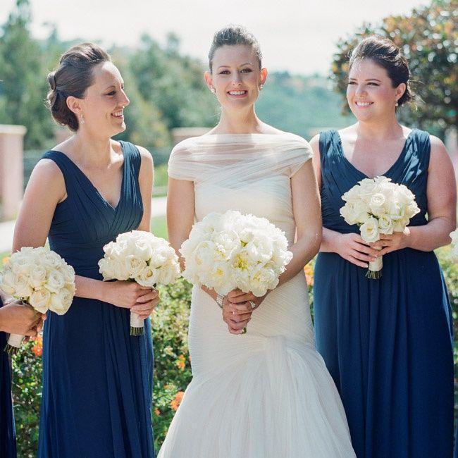 Navy Monique Lhullier Bridesmaids Dresses | Photographer: Amy & Stuart | Flowers: Mark's Garden | www.theknot.com