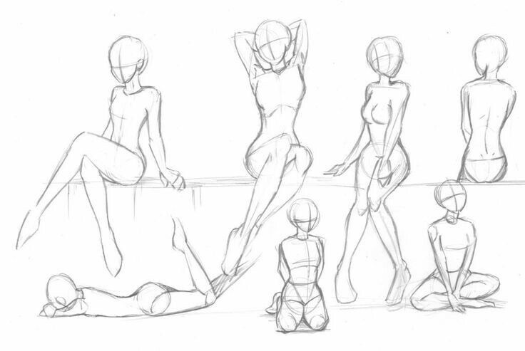 Female poses, sitting, laying down, Drawing References