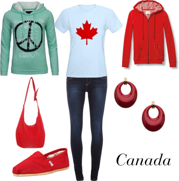 """Canada on a Budget"" by winterlake25 on Polyvore - I think this was originally a way to do a casual Canada-inspired Hetalia closet cosplay (closet cosplay is when you use street clothes to put a costume together). But looking at it, I think it'd make a fun Canada Day outfit or something else of the sort. :)"