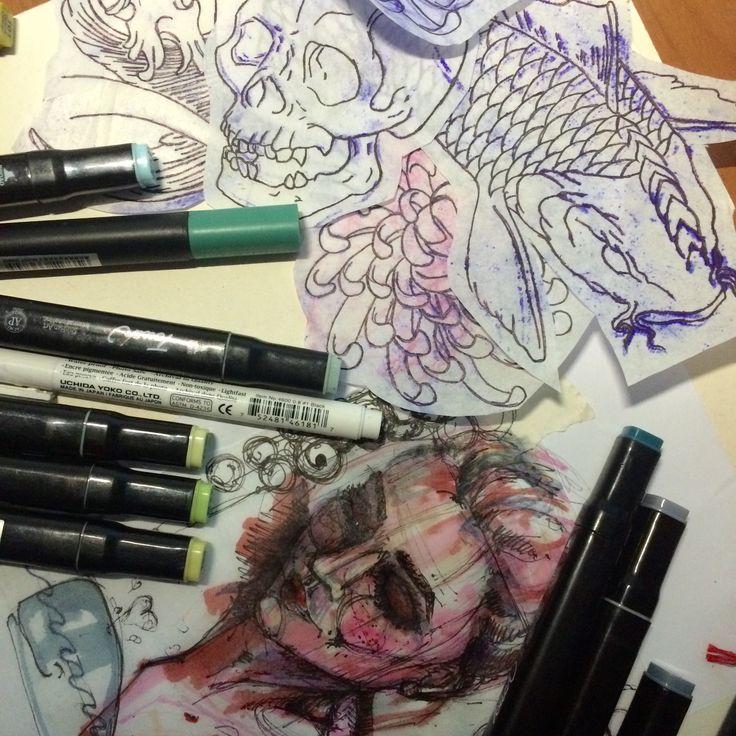 Art, people, sketch, drawing, female portrait, markers, tattoo designs. Искусство, люди, эскиз, рисунок, женский портрет, маркеры, тату эскизы.
