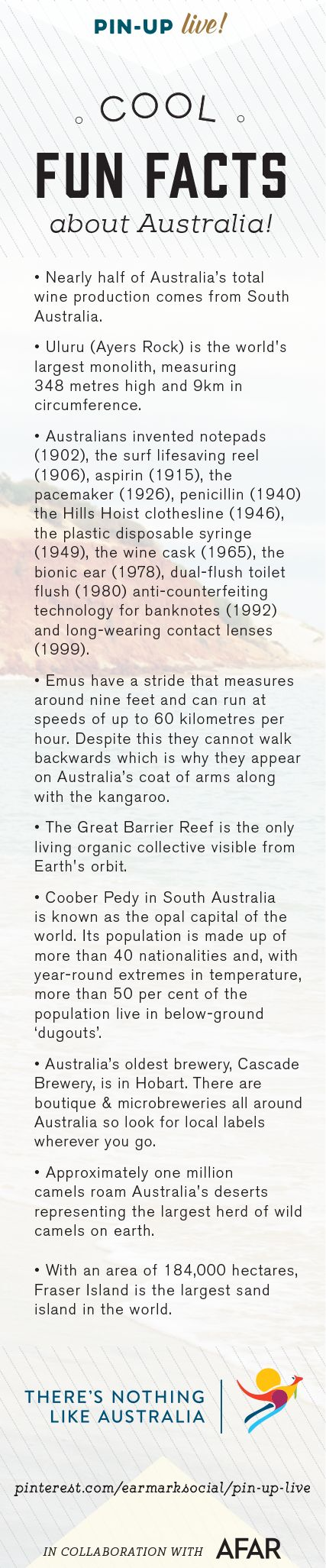 It's always fun to learn some quirky facts while traveling! Do you have a fun fact to share about Australia? Share away! #pinuplive