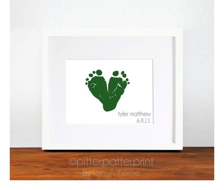 Gift for New Dad - Baby Footprint Heart Green - New Grandpa Grandfather Daddy Gift - First Valentines Day Gift - First Father's Day Gift