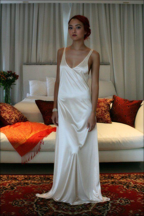 Bridal Nightgown Satin Slip Dress Liner Bridal Slip Wedding Slip Formal  Length Slip Dress Liner Cham   Products in 2019   Night gown, Dresses, Satin f24ba36c4f5