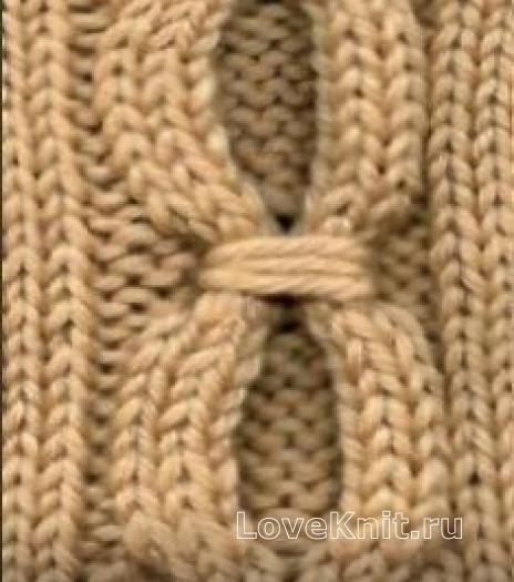 Вязание спицами узор из кос (жгутов) №1987 схема