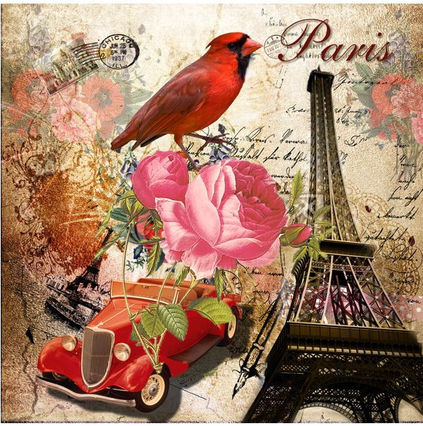 Mixed media - Eiffel tower, cardinal, vintage car, pink rose on writing.