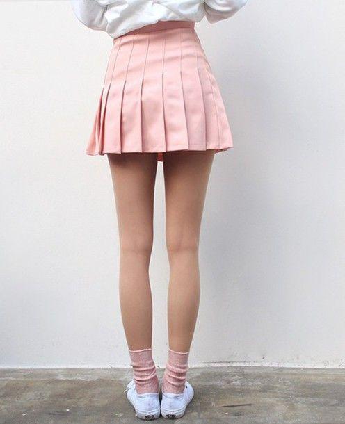 Skirt: pink light pink pastel short love tennis back to school pleated pink mini
