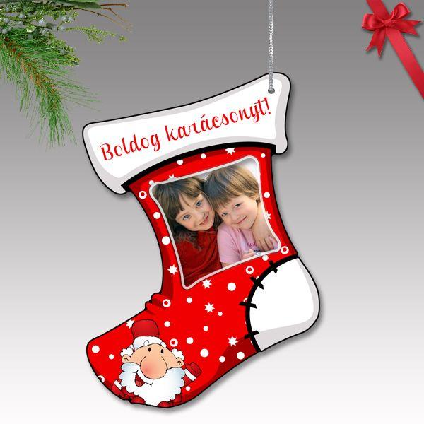 Fényképes karácsonyfa dísz - műanyag, csizma