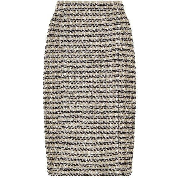St. John Vany Metallic Tweed Pencil Skirt (41.390 RUB) ❤ liked on Polyvore featuring skirts, cocktail skirt, st. john, st john skirt, evening skirts and tweed pencil skirts