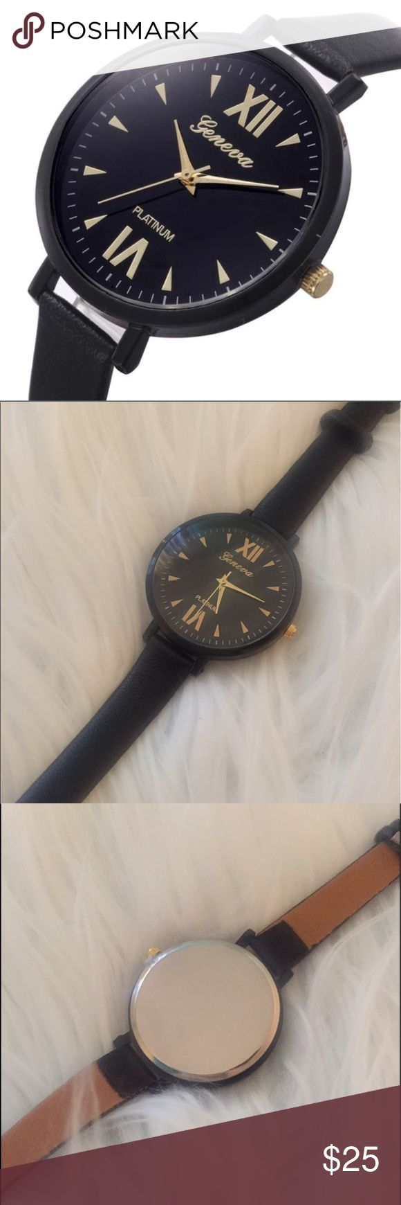 ⚜️Black Watch⚜️ Love this beautiful black watch! All black with gold trimmings and Roman numeral numbers. Thin belt. Accessories Watches
