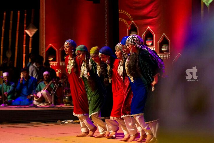 Kashmiri Folk Dance 'Rouf'. This is a spring time dance. This dance is performed by the women community wearing colorful costumes. This dance is practiced during the occasions of Eid and Ramzan. Women generally line up face to face in this dance. One of the most notable features is their intricate footwork during the dance which is called as Chakri in the local language.