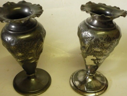 Vintage Metal Vases  English  Antique by JanniesJunkandJems, €25.00