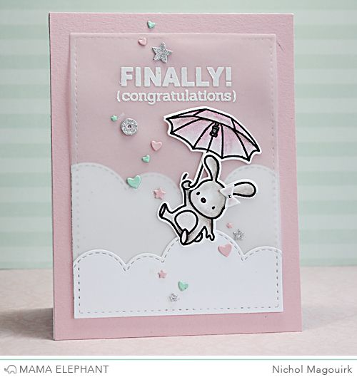 Mama Elephant Up and Away stamp set and dies; Mama Elephant Hustle stamp set (sentiment); ME Landscape Trio dies.  New baby card