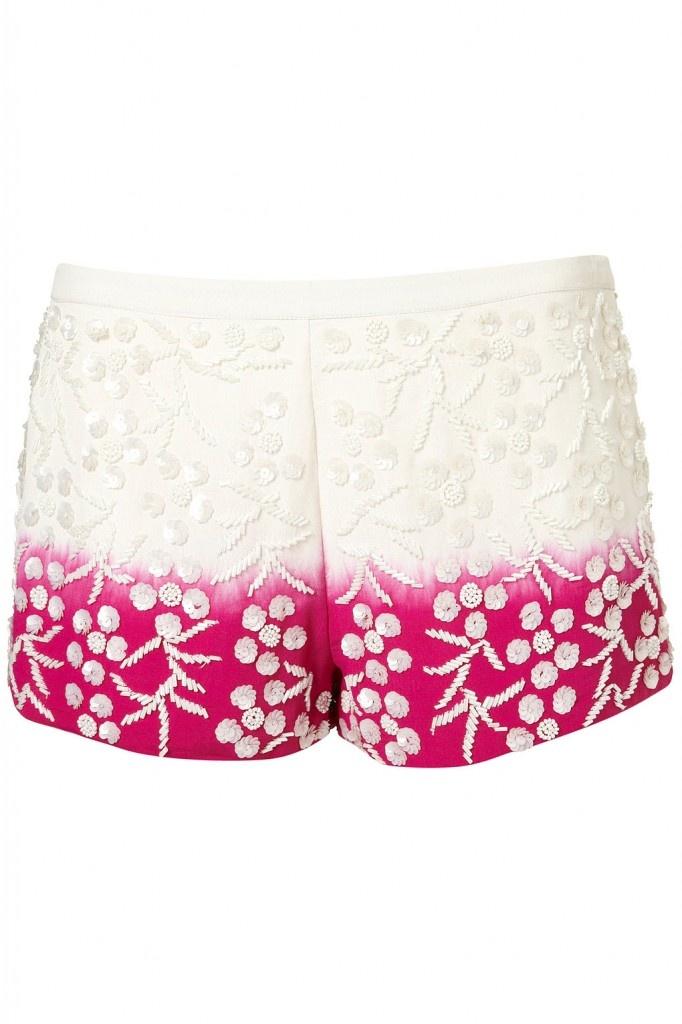 Topshop beaded dip dye shorts