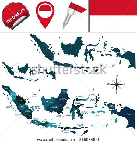 Vector map of Indonesia with named regions and travel icons